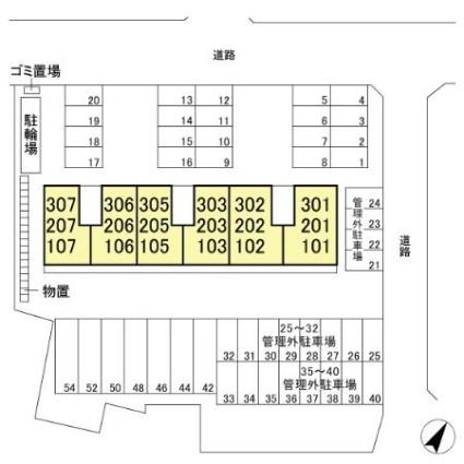 新潟県新潟市西区内野町[1LDK/43.93m2]の配置図