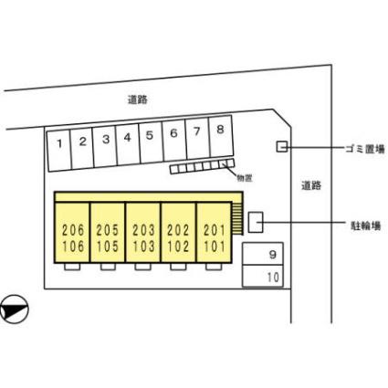 新潟県新潟市西区ときめき東1丁目[1K/26.71m2]の配置図