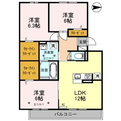 新潟県新潟市西区ときめき東1丁目[3LDK/71.81m2]の間取図