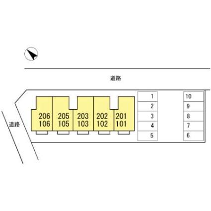新潟県新潟市秋葉区山谷町1丁目[2DK/46.97m2]の配置図