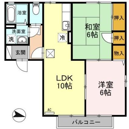 新潟県新潟市秋葉区車場2丁目[2LDK/50.5m2]の間取図