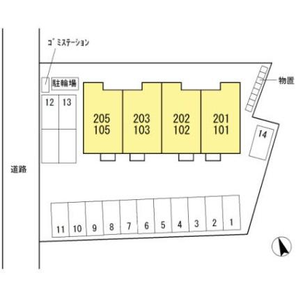 新潟県新潟市東区海老ケ瀬[1LDK/46.57m2]の配置図
