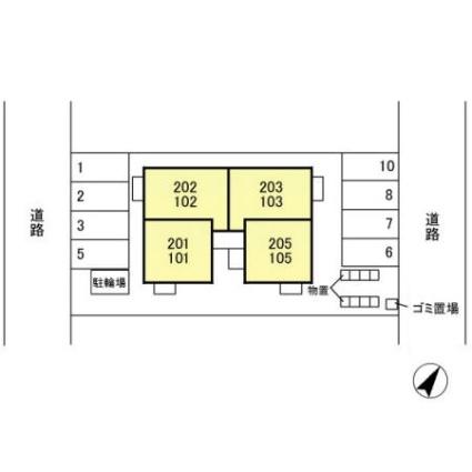 新潟県新潟市江南区亀田向陽2丁目[1LDK/34.76m2]の配置図