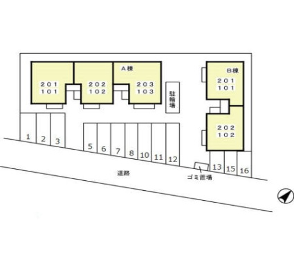 新潟県新潟市北区つくし野1丁目[2DK/48.79m2]の配置図
