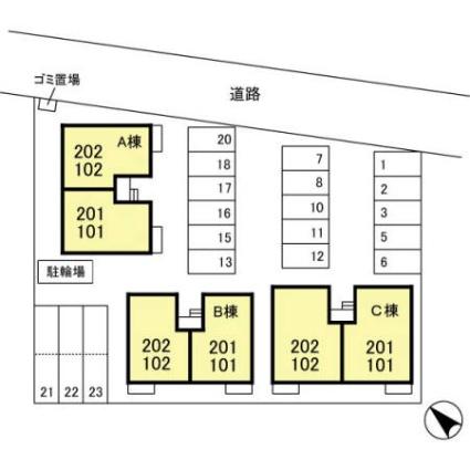 新潟県新潟市江南区梅見台2丁目[2LDK/57.9m2]の配置図