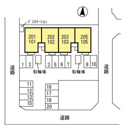 新潟県新潟市秋葉区あおば通1丁目[2LDK/53.76m2]の配置図