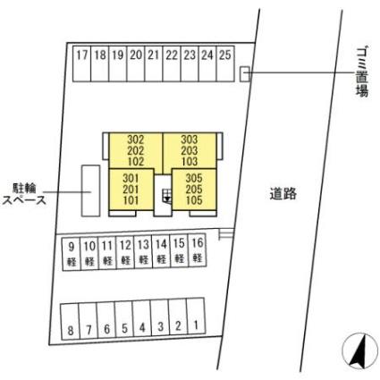 新潟県新潟市西区山田[1LDK/32.77m2]の配置図
