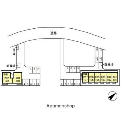 タウンコートくろい駅東Ⅲ[1LDK/33.61m2]の配置図