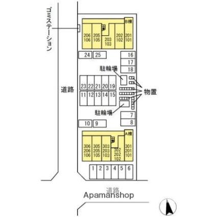 リナーシェA[1K/26.28m2]の配置図