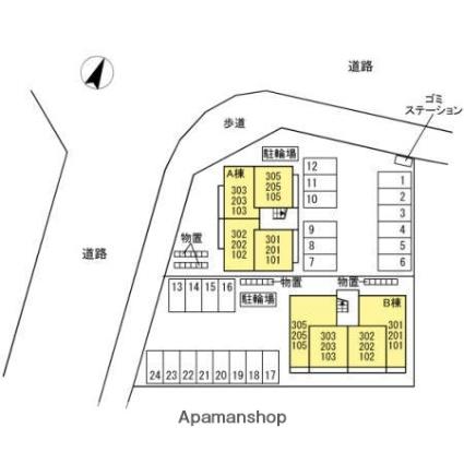 シャインピークス大和 B[1LDK/46.68m2]の配置図
