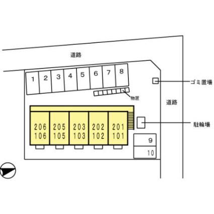 メープル・コート[1K/26.71m2]の配置図