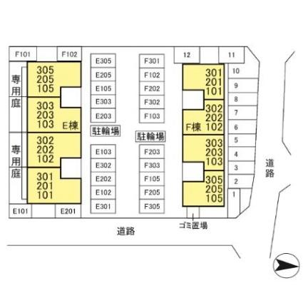 新潟県新潟市西区ときめき東1丁目[1LDK/44.4m2]の配置図