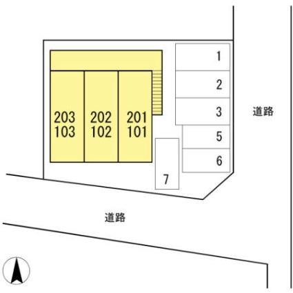 新潟県新潟市西区ときめき西2丁目[1K/22.77m2]の配置図