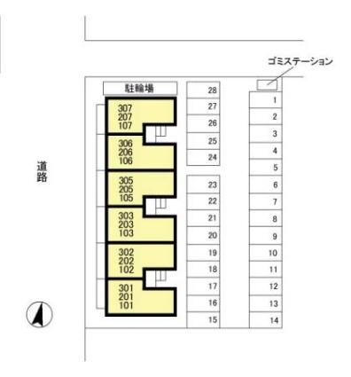 新潟県新潟市中央区大島[1LDK/46.83m2]の配置図