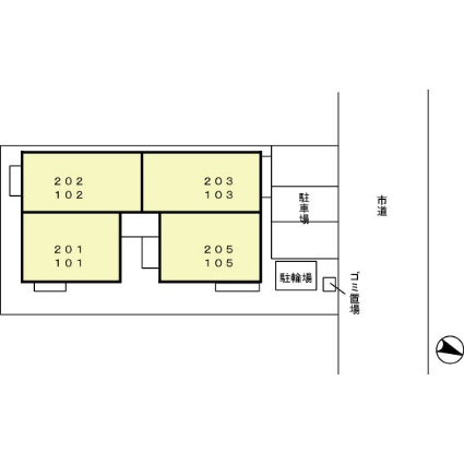 新潟県新潟市中央区関屋昭和町3丁目[1K/29.44m2]の配置図