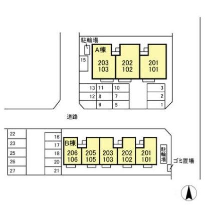 新潟県新潟市西区小新4丁目[3LDK/68.55m2]の配置図