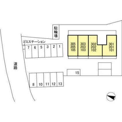 新潟県新潟市西区五十嵐2の町[1K/29.61m2]の配置図