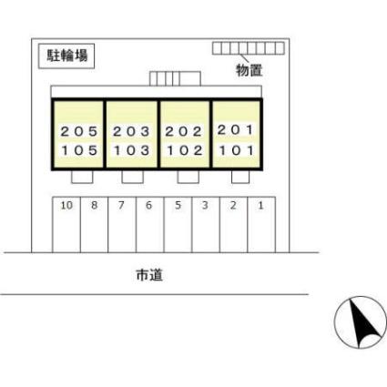 新潟県新潟市西区ときめき西3丁目[1DK/29.25m2]の配置図