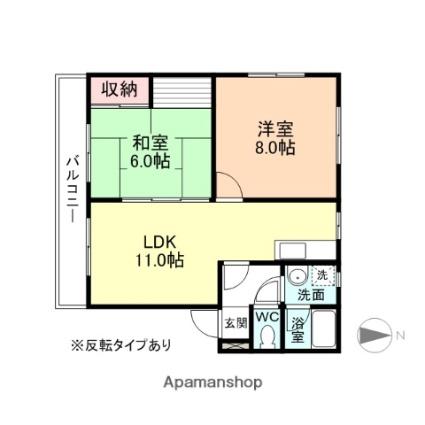 富山県富山市田中町1丁目[2LDK/54.87m2]の間取図