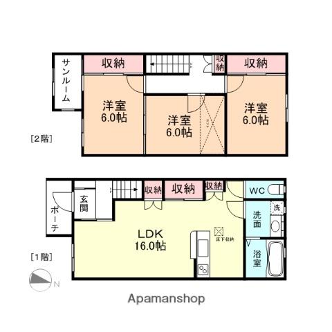 富山県富山市、速星駅徒歩18分の築8年 2階建の賃貸テラスハウス