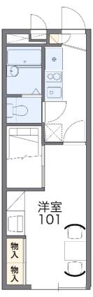 レオパレスドエル21[1K/22.35m2]の間取図