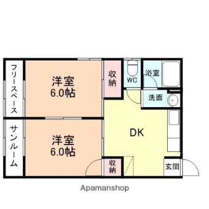 富山県富山市上二杉[2DK/44.55m2]の間取図