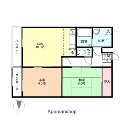 富山県富山市黒瀬北町2丁目[2LDK/55.08m2]の間取図