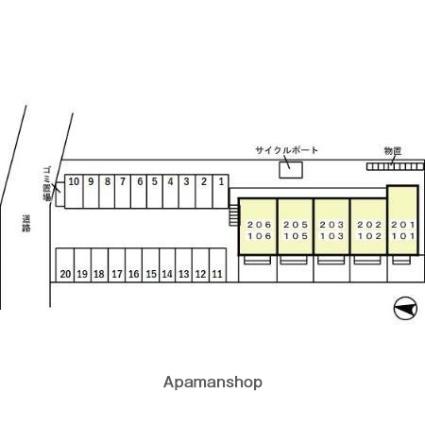 サニーヴィレッジ[1LDK/45.04m2]の配置図
