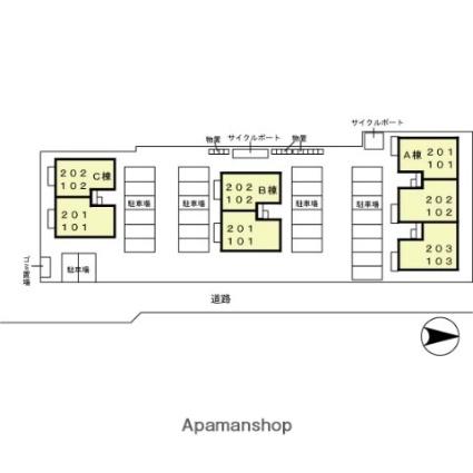 シャンポール A棟[2LDK/55.44m2]の配置図
