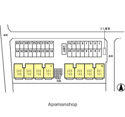 富山県富山市経堂2丁目[1LDK/45.07m2]の配置図