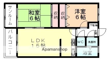 富山県富山市赤田[2LDK/63.7m2]の間取図