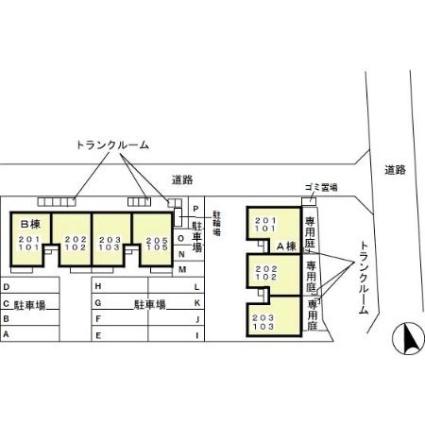 ウィルコート B[2DK/51.6m2]の配置図
