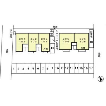 プロヴァンス高尾台 A[1LDK/45.42m2]の配置図