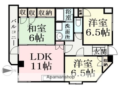 黒川ビルⅡ[3LDK/72.1m2]の間取図