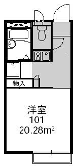 レオパレス木田[1K/20.37m2]の間取図