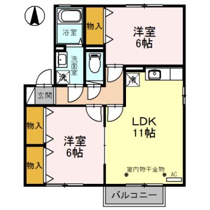 福井県福井市飯塚町[2LDK/55.44m2]の間取図