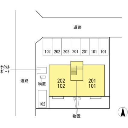 福井県福井市飯塚町[2LDK/55.44m2]の配置図