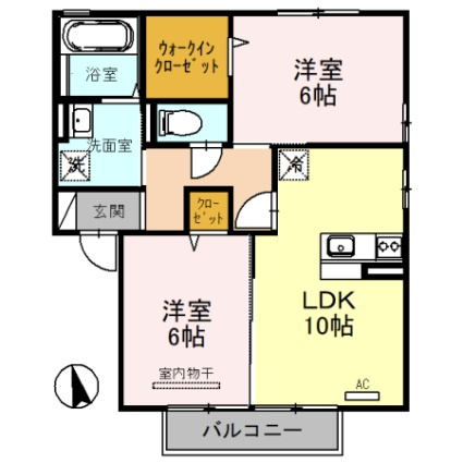 福井県大野市友江[2LDK/55.45m2]の間取図