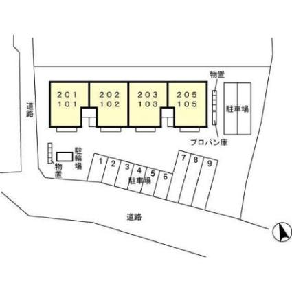 福井県大野市友江[2LDK/55.45m2]の配置図