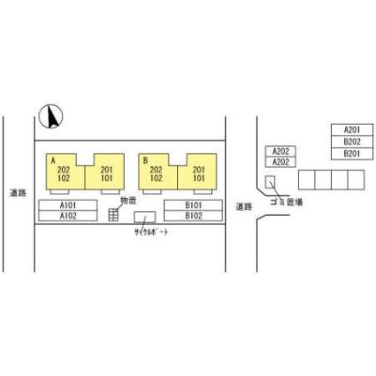 フルール・ド・オゥ B[2LDK/55.4m2]の配置図
