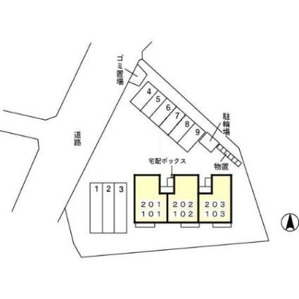 福井県福井市定正2丁目[2LDK/53.76m2]の配置図