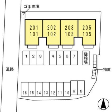 山梨県甲府市金竹町[1LDK/48.38m2]の配置図