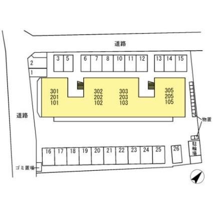 山梨県甲府市国母8丁目[2LDK/51.91m2]の配置図