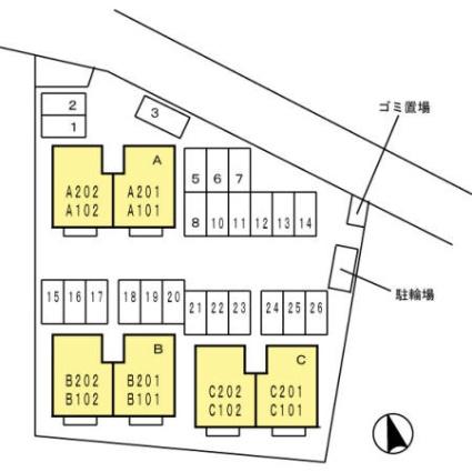 山梨県甲府市上今井町[2LDK/53.76m2]の配置図