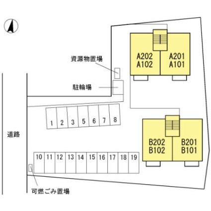 山梨県笛吹市境川町藤垈[2LDK/53.76m2]の配置図