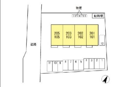 山梨県韮崎市大草町上條東割[2LDK/50.38m2]の配置図