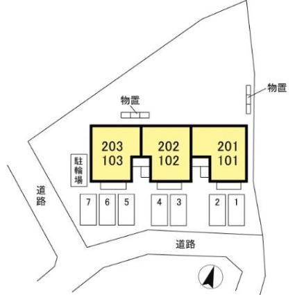 長野県長野市大字小柴見[2LDK/55.2m2]の配置図