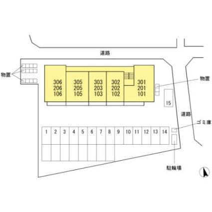 長野県長野市大字北堀[2LDK/52.55m2]の配置図