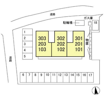 長野県長野市大字上駒沢[2LDK/58.37m2]の配置図