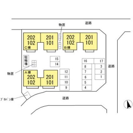 メゾンパーク東和田 A[2K/42.14m2]の配置図